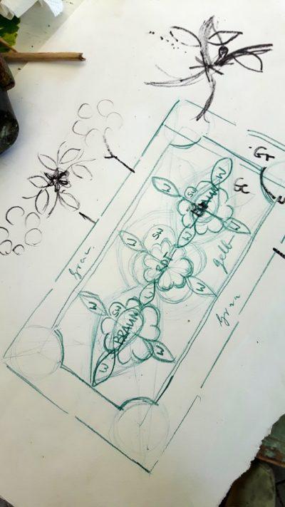 Ein Entwurf für den Teppich als Gartenwegmosaik